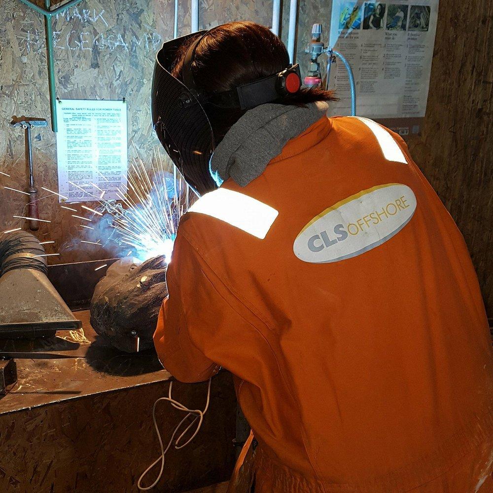Welding an iron work