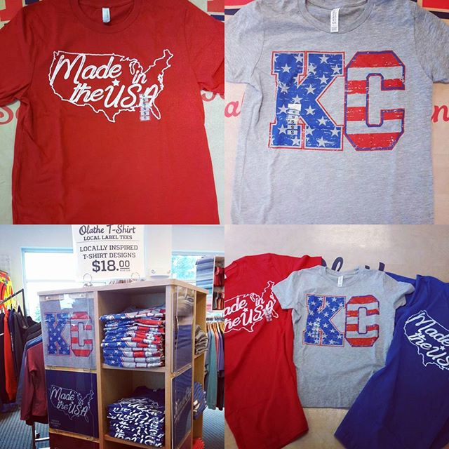 "Show your American Pride in our new tees! We have youth and adult in the KC flag design! Our ""Made in the USA"" shirts are printed on Made in the USA shirts!  All of these are on the super soft high quality Canvas brand shirts. #mmmerica #redwhiteandbluepride #madeintheusa # independenceday"