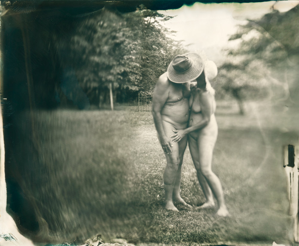 "Naturalists    I have been using the collodion process to photograph public and private naturalist communities throughout the mid-Atlantic region, particularly focusing on communities from West Virginia, New Jersey, Pennsylvania, and New York. My life's work has always returned to the subject of ""community"" and I have particularly sought to study communities that people form outside of societal norms. Marrying my study of naturalist communities with the collodion process is born of my appreciation that bodies are not perfect, each body has beauty in its imperfections. Similarly, the collodion process is not perfect, and each wet plate holds artistic beauty in its imperfections. Collodion process nudes in natural settings also are unanchored by any sense of time or era, and so take on a timelessness that allows the viewer to come closer to the imperfection and beauty of each subject as well as the imperfection and beauty of each wet plate."