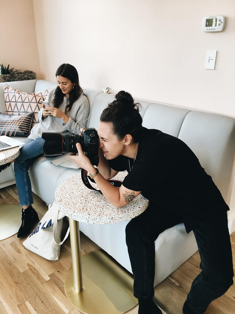 Laurel Golio photographing a subject, October 2016.