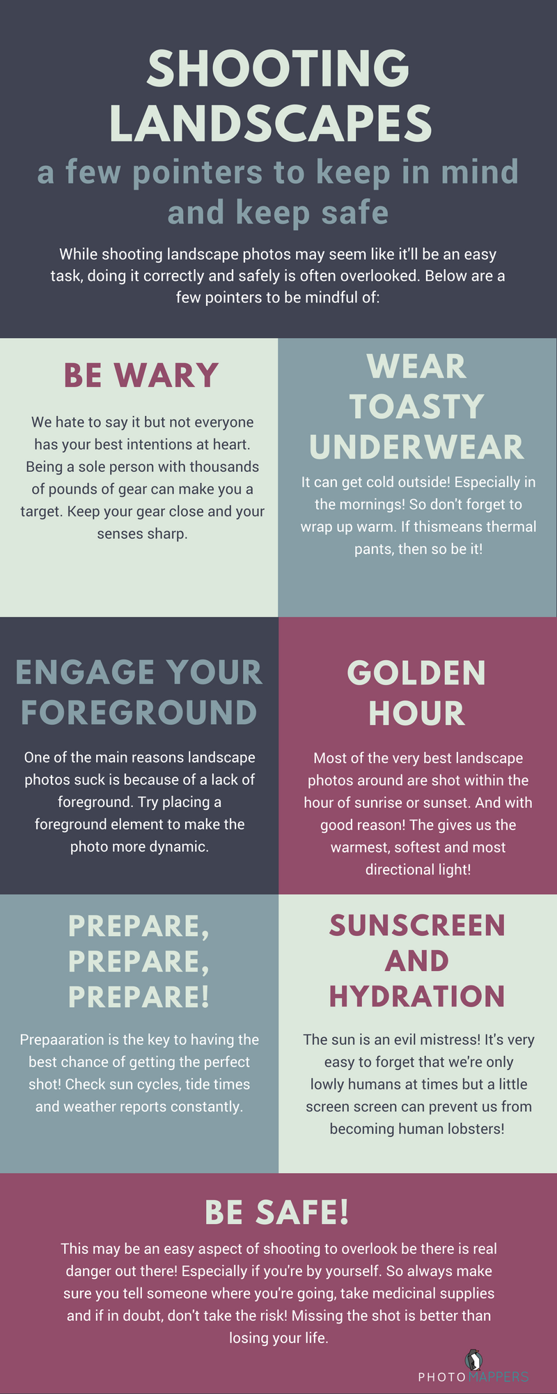 Keep safe with landscape photography infographic