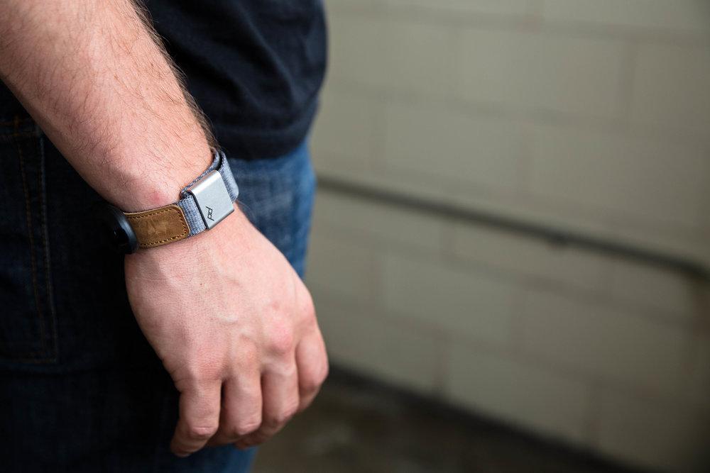 Peak Design Cuff camera strap worn as a bracelet