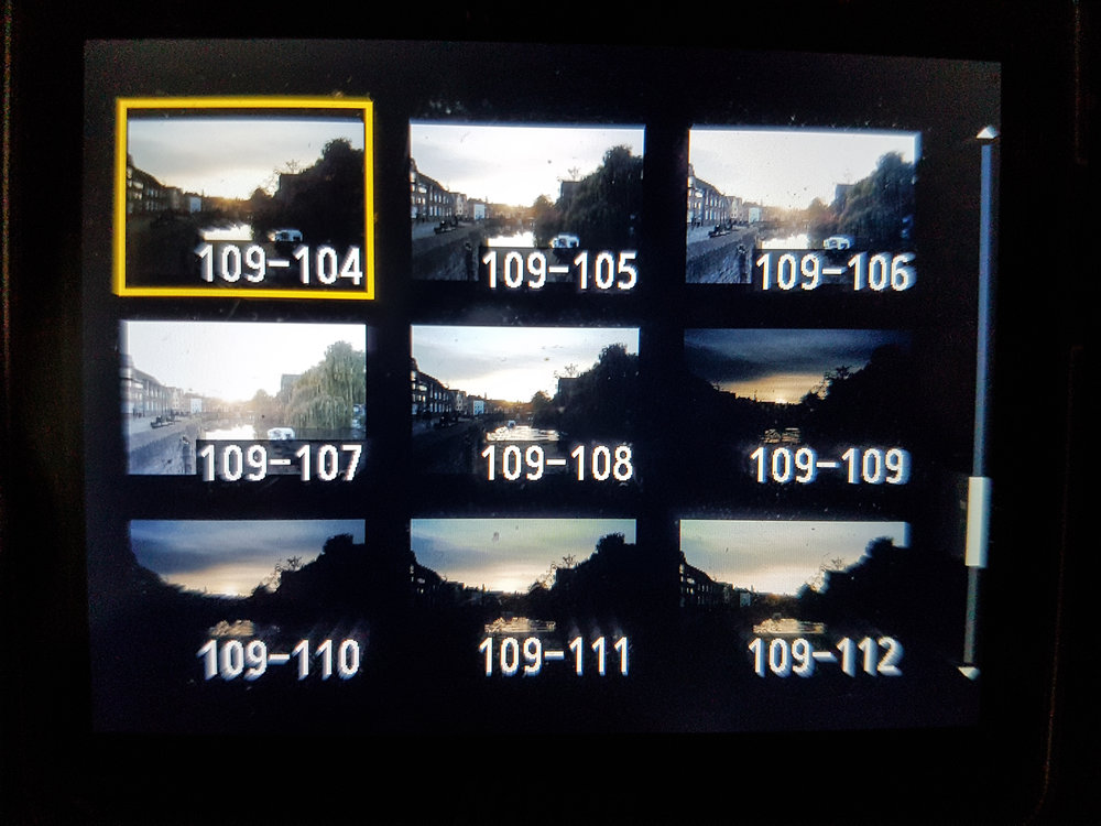 Playback grid - This is the kind of image playback grid you'll come across if you press the zoom out button a few too many times. It can be helpful for quick image review.