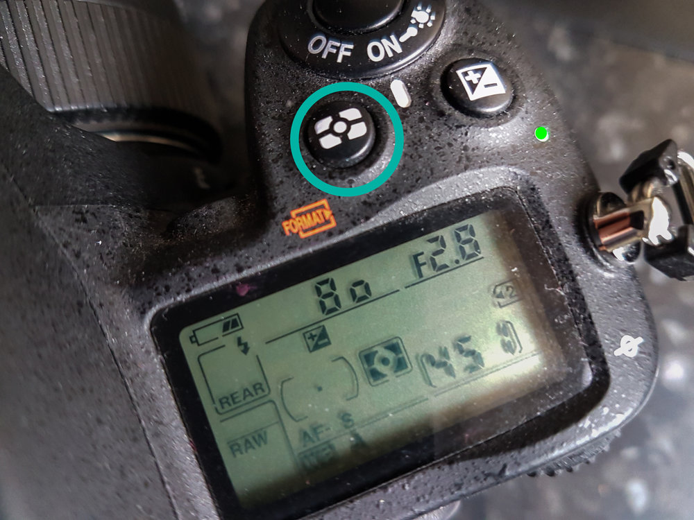Metering mode button - Use this button to switch between metering modes. Matrix mode is the most commonly used metering mode.