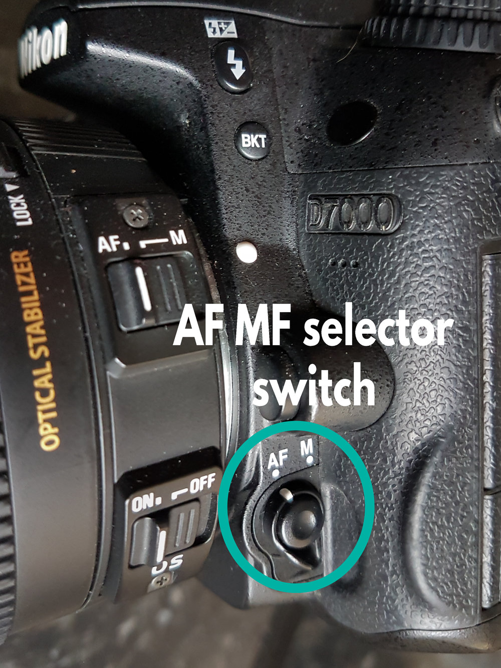 AF MF selector switch - Switch between auto focus and manual focus
