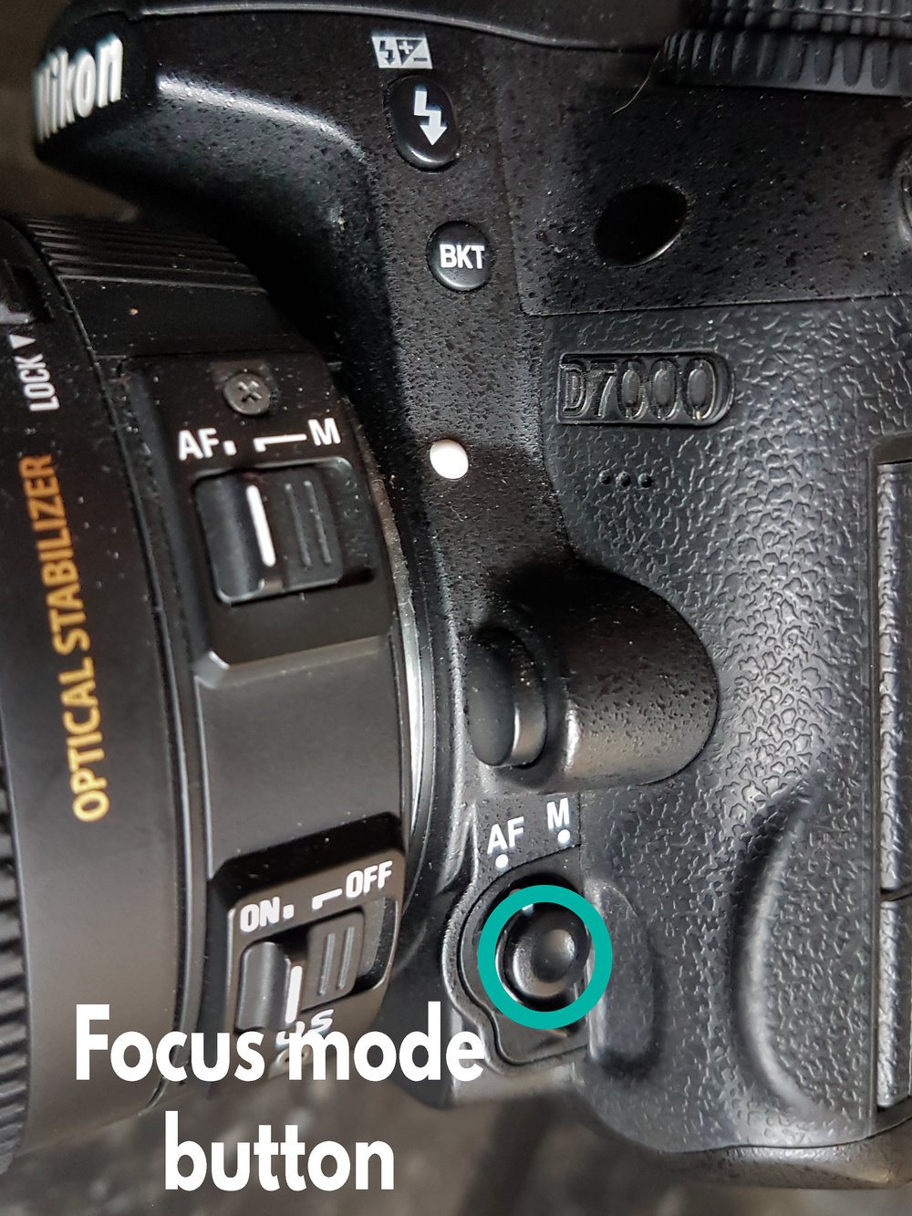 Focus mode button - Press this button in and twist the rear command dial to change focus modes