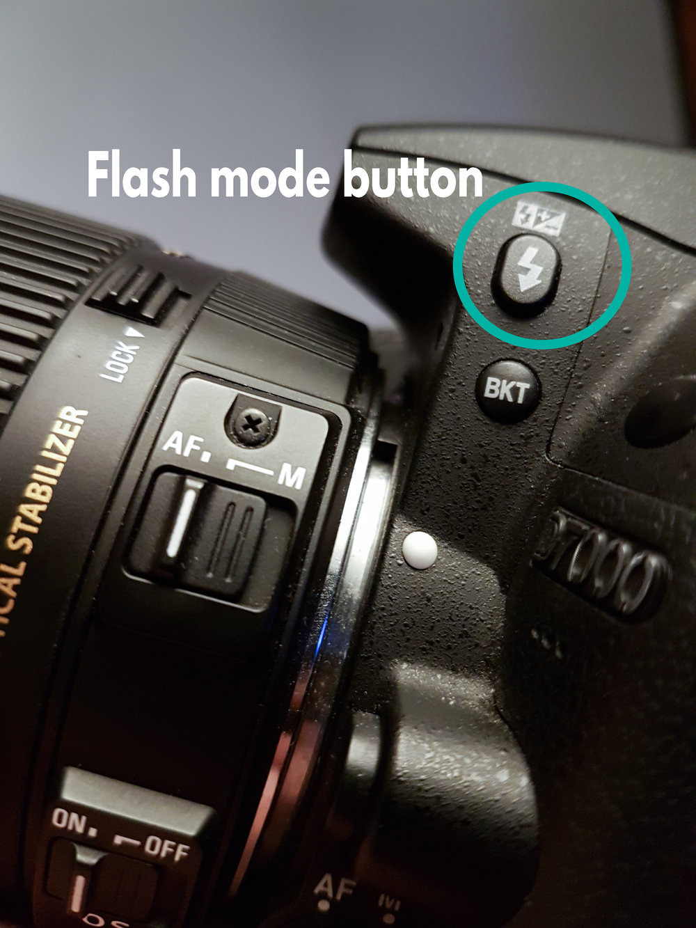 Flash mode button - Press this and use the rear command dial to change flash mode. Press this and use the front sub command dial to change flash compensation
