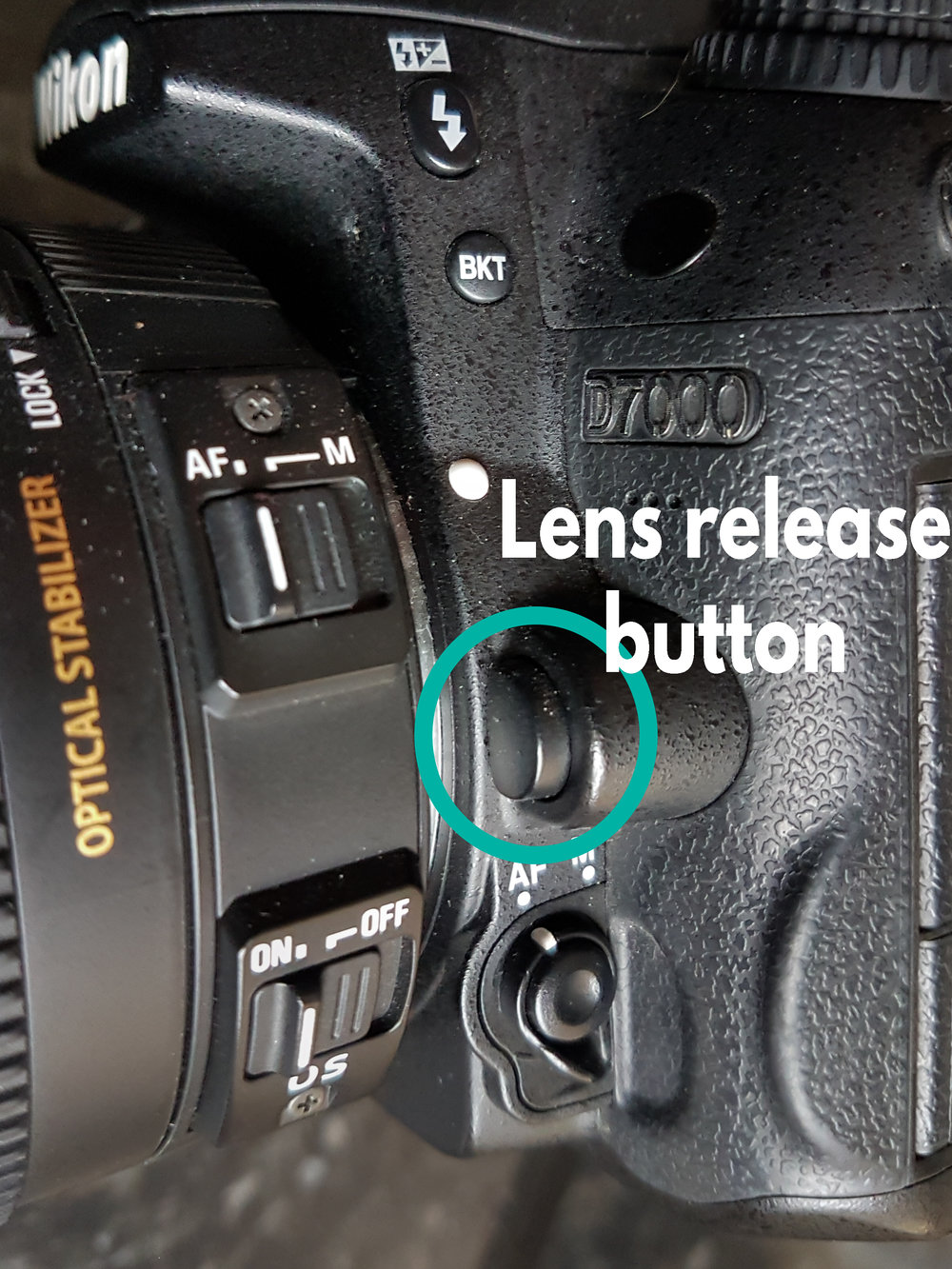 To change lenses, you'll need to press and hold the lens release button before twisting the lens off