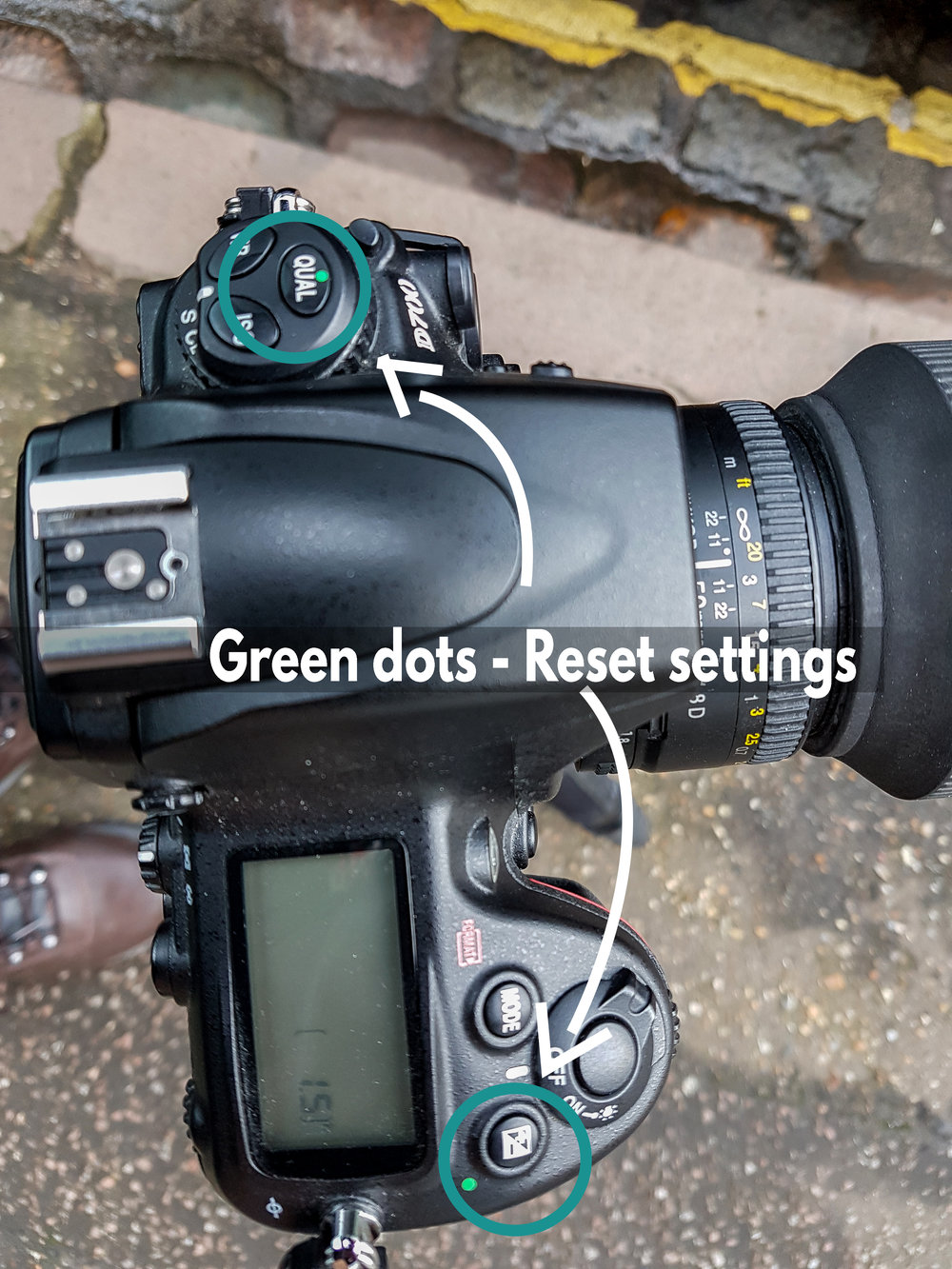 Green dots - Reset settings - Pressing and holding the relevant buttons with the green dots depicted will reset your settings back to the default. Here they are on my Nikon D700.