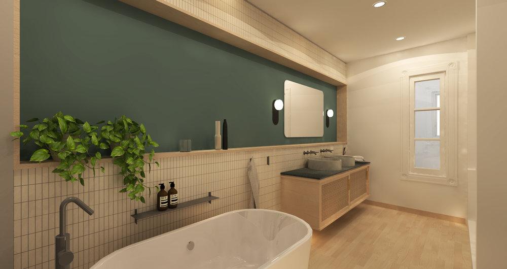 Salle de bain principale - Image de synthèse