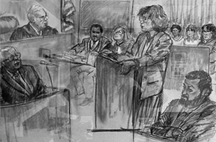 Deborah Gordon Deborah Gordon argues case in federal court, artist rendering