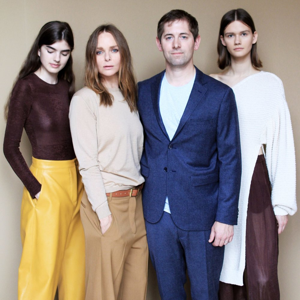 Dan Widmaier with Stella McCartney & models at Fashion Week, Paris, October 2017