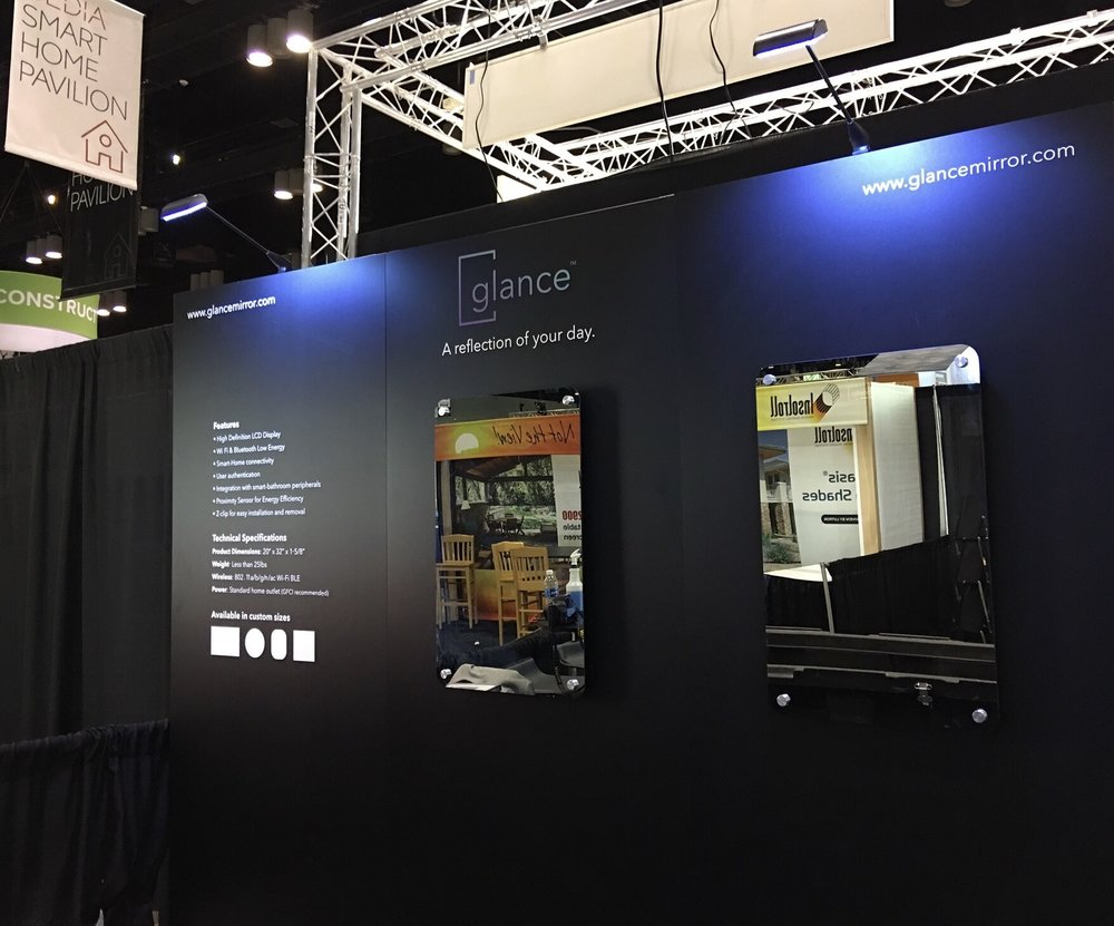 The Glance booth at IBS 2017, featuring two of our smart mirrors