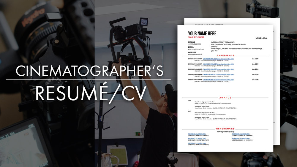 Cinematographer Resume CV Template Thumbnail