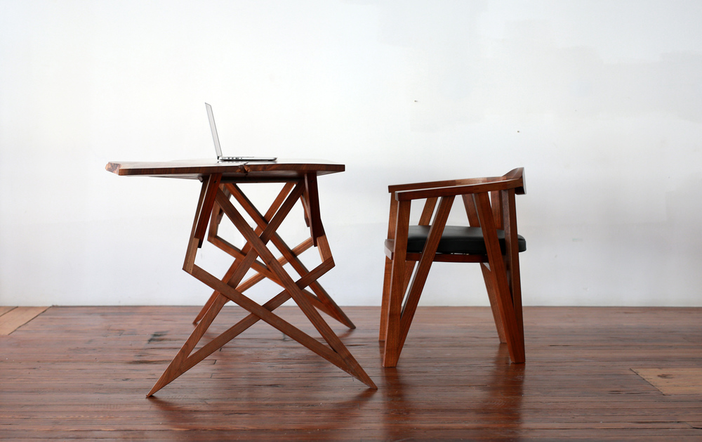 Shown in Black Walnut, with matching chair