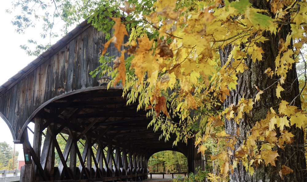 We found this beautiful covered bridge and couldn't resist taking some photos. New England is pretty famous for these and although I grew up around them in Pennsylvania, I couldn't remember why they used to build them this way and had to look it up. Apparently, it was to protect the wooden planks of the bridge itself!