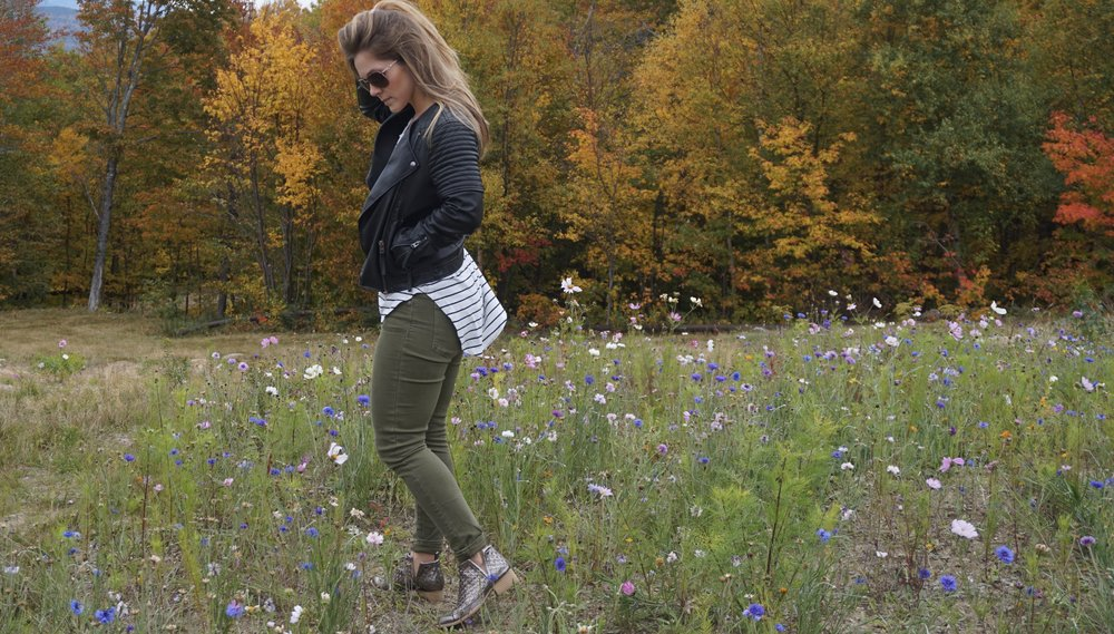How funny and cool is it that there were all of these wildflowers at the top of the mountain?! I loved it!   Jacket Topshop // Sunglasses Oakley // Shirt BP // Jeans Madewell // Shoes Jeffrey Campbell