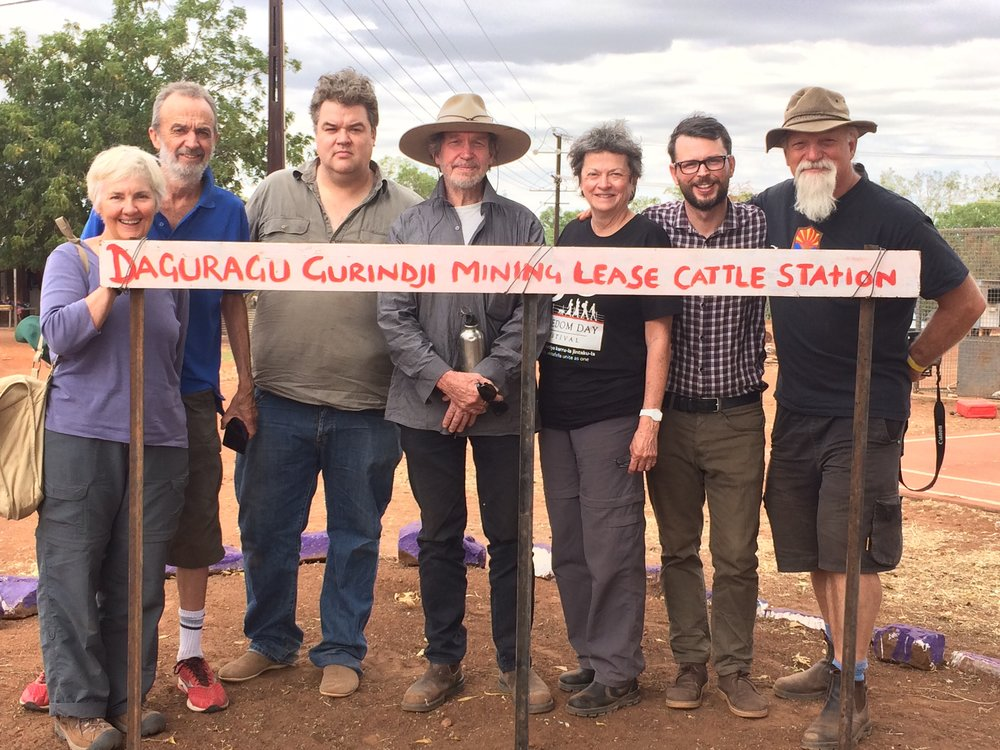 With the Hardys, Hardy-Rixes and Peter Hudson at the Gurindji sign, Daguragu