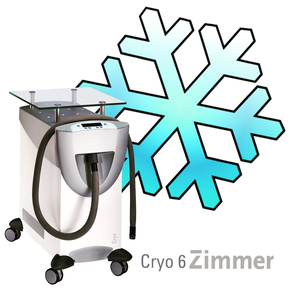 CRYO 6 ZIMMER - The Cryo 6 delivers cold air (down to -30°C) to the treatment area for ultimate comfort while having your treatment.  The system enables Cryo Therapy with precise placement and at a constant dosage, every time. This enables a quick decrease in superficial skin temperature, while maintaining the ability to operate all day. Unlike other cooling methods, such as contact cooling, cryogen spray or ice packs, the Cryo 6 decreases the skin temperature quicker, with less risk of skin burns and keeps a constant dosage throughout the entire treatment time.