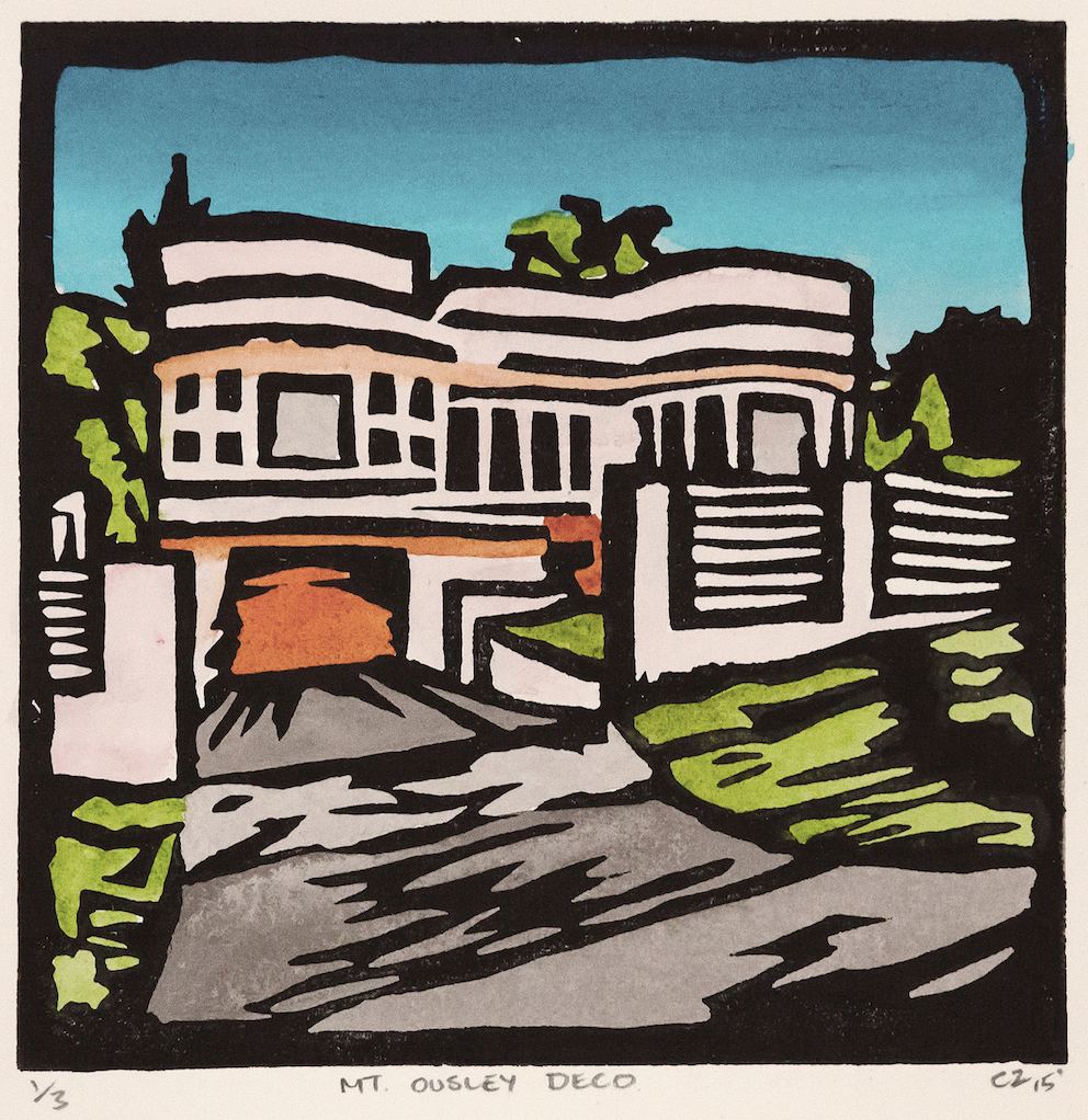 MT OUSLEY DECO, Hand coloured lino print, edition of 3, 15x15cm