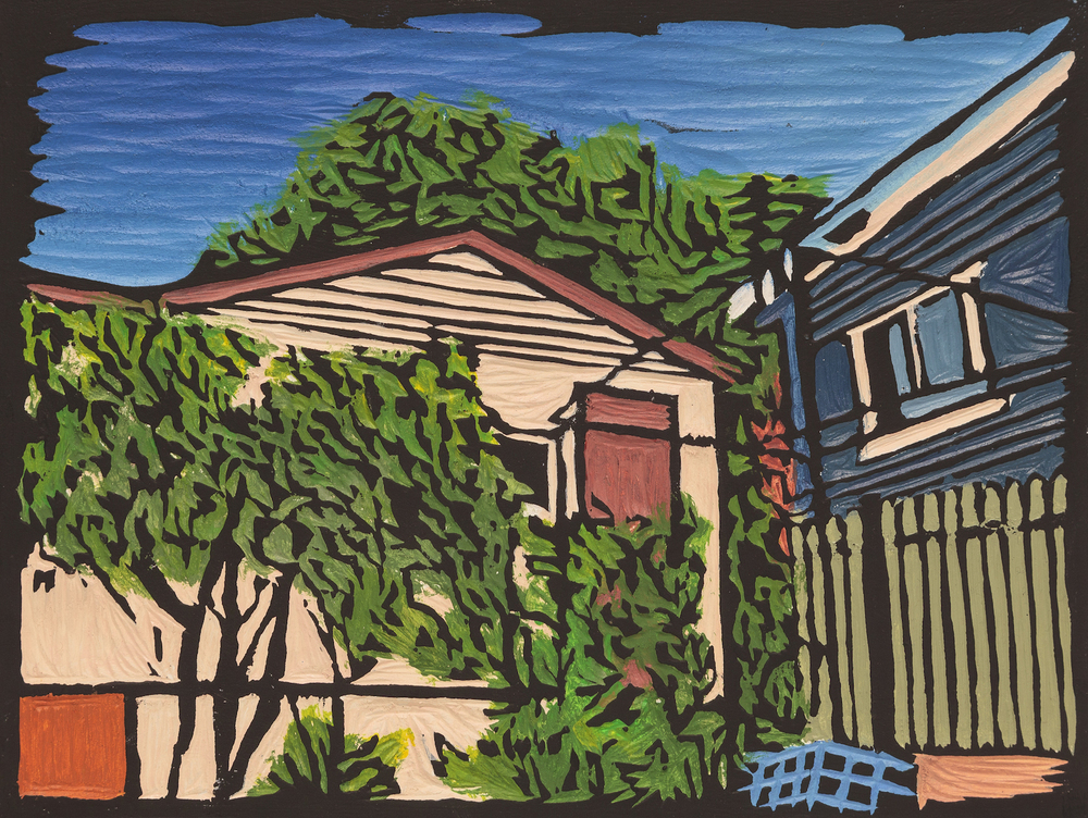 BACK SHED, Acrylic on carved wood, 15x20cm