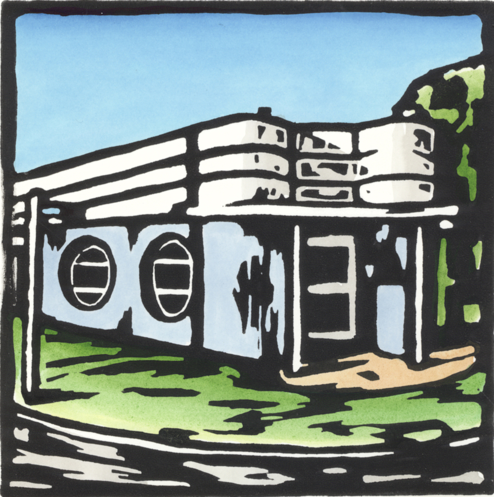 MOORE BAKERY, Hand coloured lino print, edition of 6, 15x15cm
