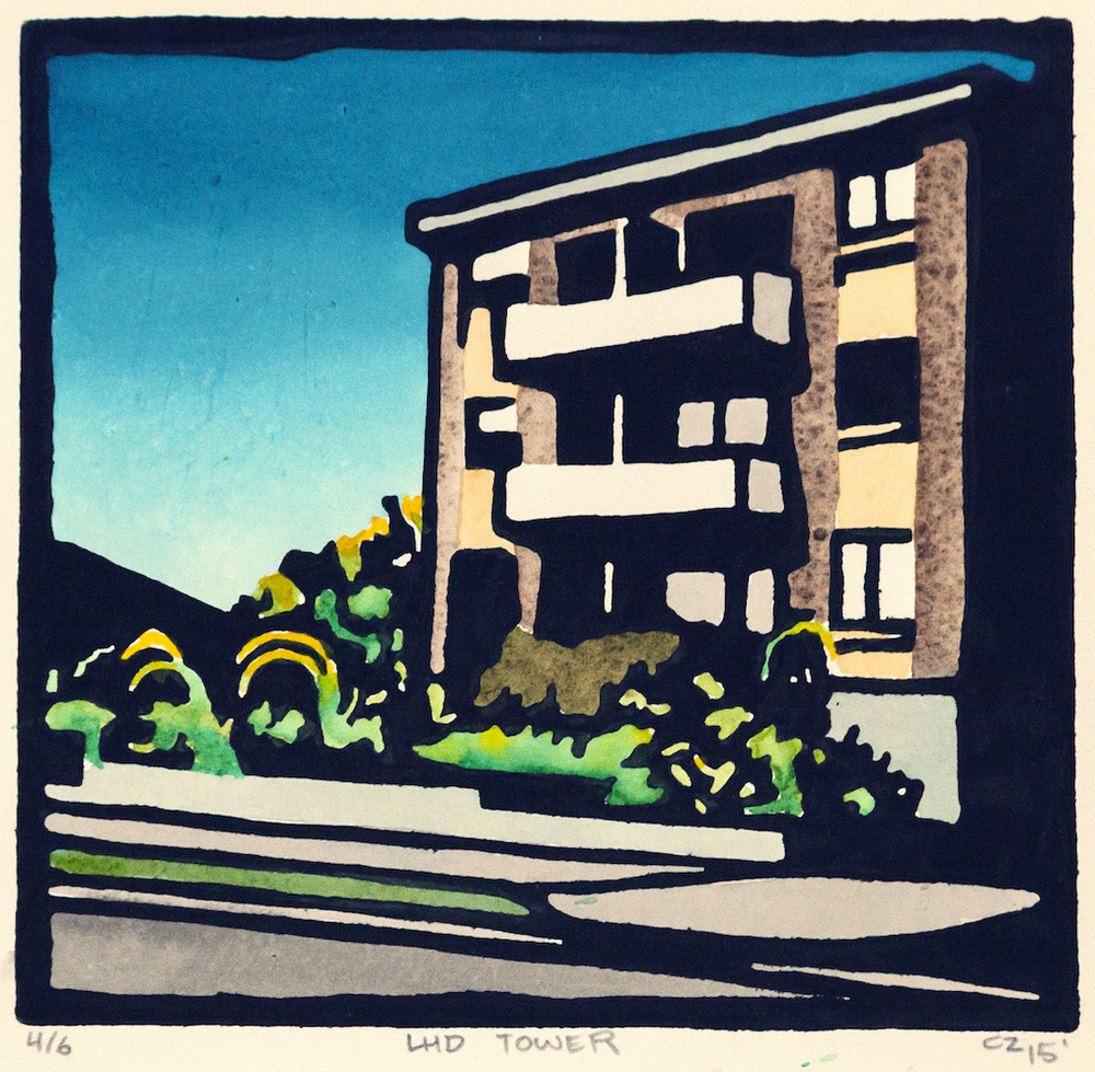 LHD TOWER, Hand coloured lino print, edition of 6, 15x15cm