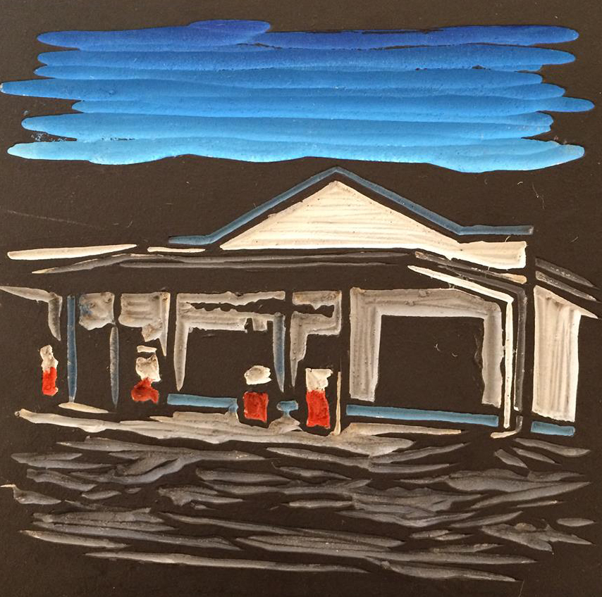 THIRROUL PETROL, Acrylic on Lino, 12.5x12.5cm
