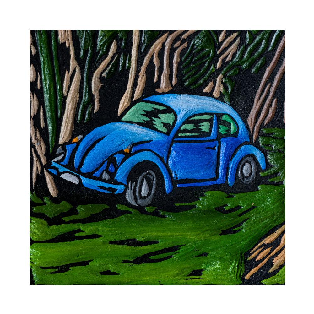 Blue Bug, Acrylic on woodcarving, 12.5x12.5cm