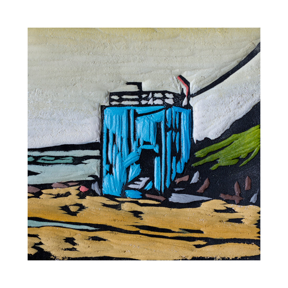 The Pumphouse, Acrylic on woodcarving, 12.5x12.5cm