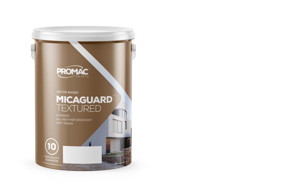 MicaGuardTextured - WATER BASEDPromac Micaguard™ Textured is a tough, durable, weather-resistant textured coating that contains quartz for strength and mica for flex. Promac Micaguard™  Textured may be used for exterior and interior applications where the textured finish can hide surface irregularities such as minor plaster defects.