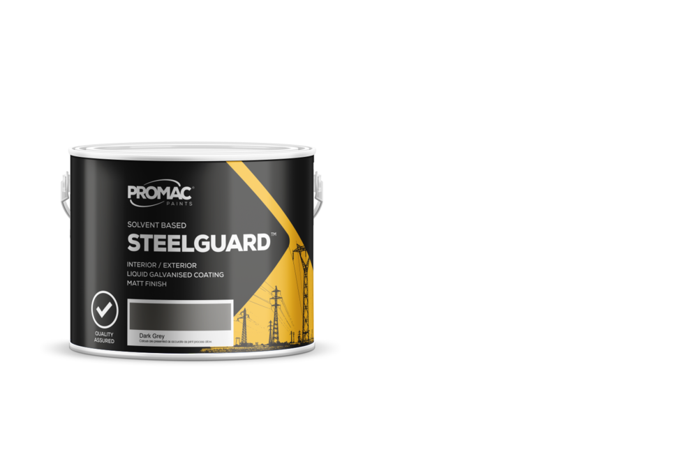 STEELGUARD - SOLVEND BASEDPromac Steelguard™ liquid galvanised coating is a single pack matt zinc rich primer and / or final coat which gives outstanding corrosion resistance due to cathodic protection.