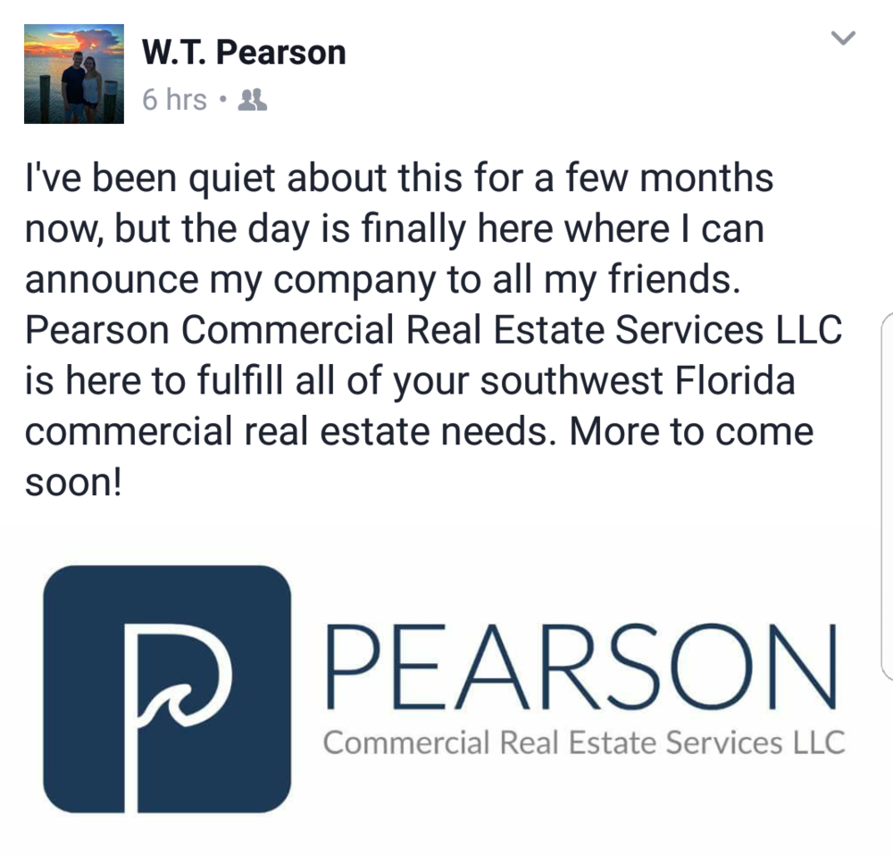 Mymost recentfinished project - was creating a logo for Pearson Commercial Real Estate. WT is located in SW Florida and beyond.