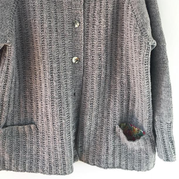 Details matter to Nell - like the Liberty fabric pocket she sewed into this Roger cardigan.