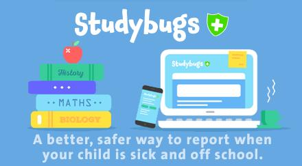 Report your child's absence by clicking on the Studybugs Icon.