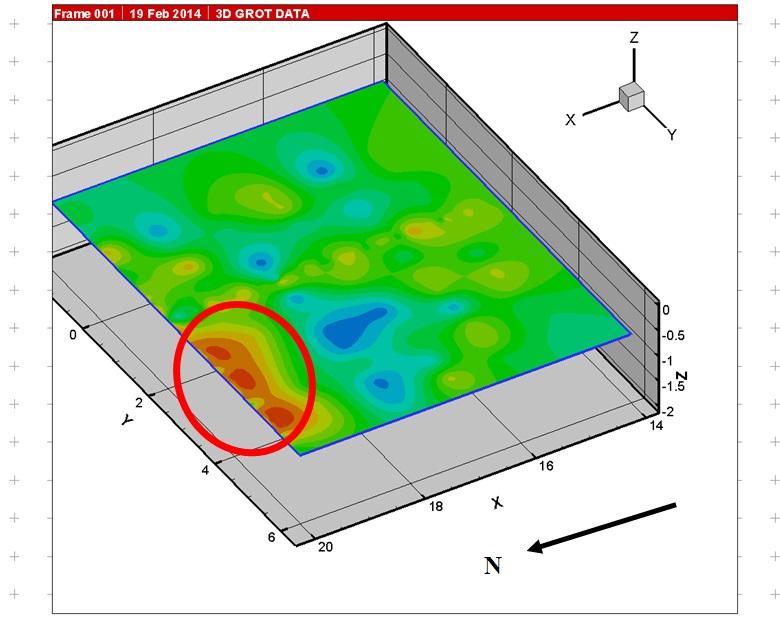 Рис.3. Зона очага по данным георадиолокации в плоскости координат X-Y.