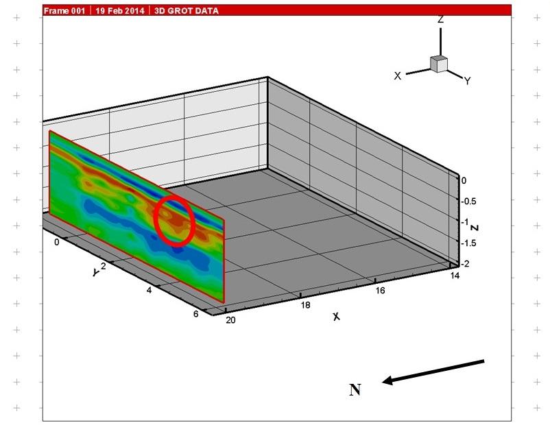 Рис.4. Зона очага по данным георадиолокации в плоскости Y-Z.