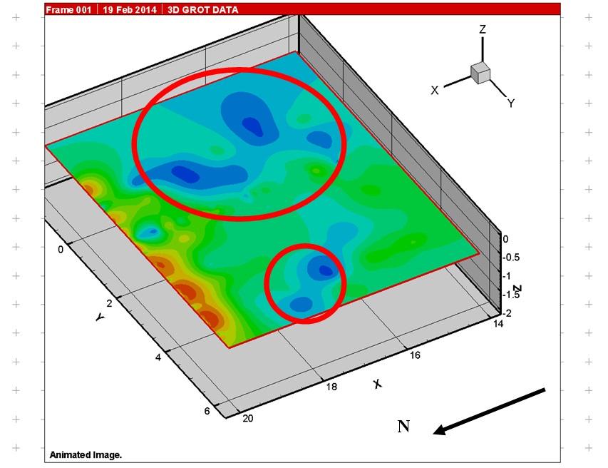 Рис.6. Зона развала керамики и сосуда по данным георадиолокации. Секция с глубины90 см.
