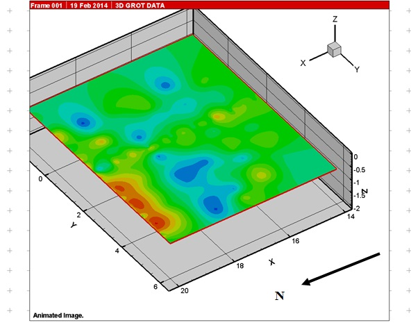 Рис.7. Зона развала керамики и сосуда по данным георадиолокации. Глубина 1 м.
