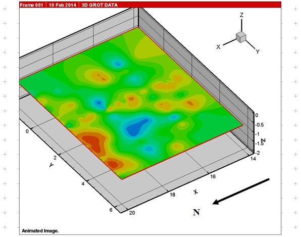 Рис.8. Зона развала керамики и сосуда по данным георадиолокации. Глубина 1,1 м.