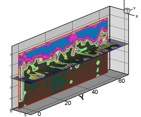 Сегмент трёхмерного изображения породв программе GROT 3D.