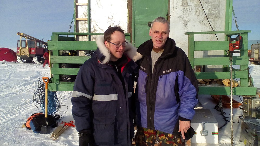 Fig. 6. Alexey Sherstnev (right) with Canadian specialist Michael   Angelopoulos (left).