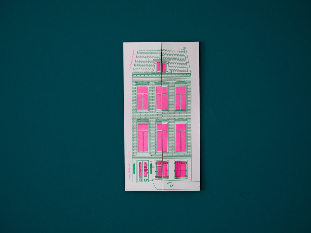 Fleur Ellis_Christmas card_ We are pi _Risograph Printing