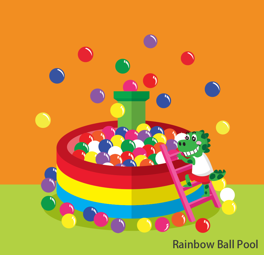 Rainbow Ball Pool Don't miss this! Get into this two-story high ball pool and slide into rainbow ball pits! Height restrictions: Children below 90cm may not participate. Children between 90 – 110cm must be accompanied by an adult. Token(s) required: 5  Token(s) required for each accompanying guest: 3