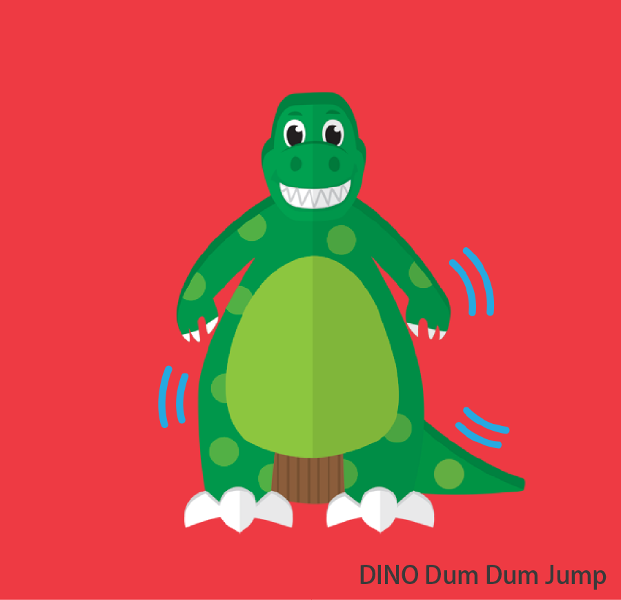 DINO Dum Dum Jump Have you ever imagined jumping and bouncing in DINO's belly? Height restrictions: Children below 90cm may not participate. Children between 90 – 110cm must be accompanied by an adult. Token(s) required: 3 Token(s) required for each accompanying guest: 1