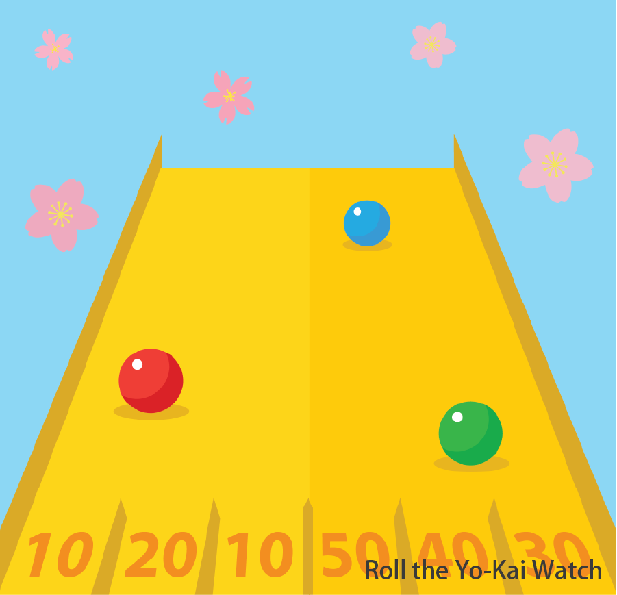 Roll the Yo-Kai Watch  Roll the ping-pong ball across a rainbow-coloured pathway. Holes at the end of the pathway will indicate different points. Once a specified total score is reached, a prize will be awarded Token(s) required: 2 (for 4 ping-pong balls)
