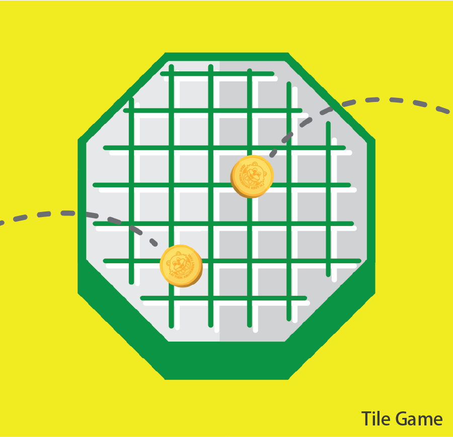 Tile Game Coins are thrown onto gum tiles. Land a coin within a gum tile without touching any gridlines to win a prize. Token(s) required: 1 (for 2 game coins)