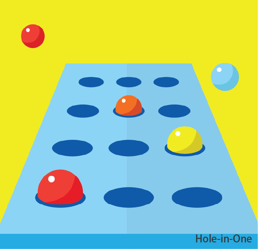 Hole-in-One  Throw the ball into grids of different colours to win a prize. Token(s) required: 2 (for 8 balls)