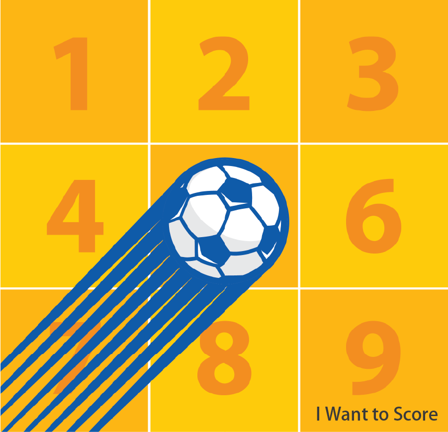 I Want to Score Participants will have six chances to kick a ball. Successfully kick the ball into designated grids and form a straight line with the scored grids to win a gift. Token(s) required: 2 (for 6 kicks)