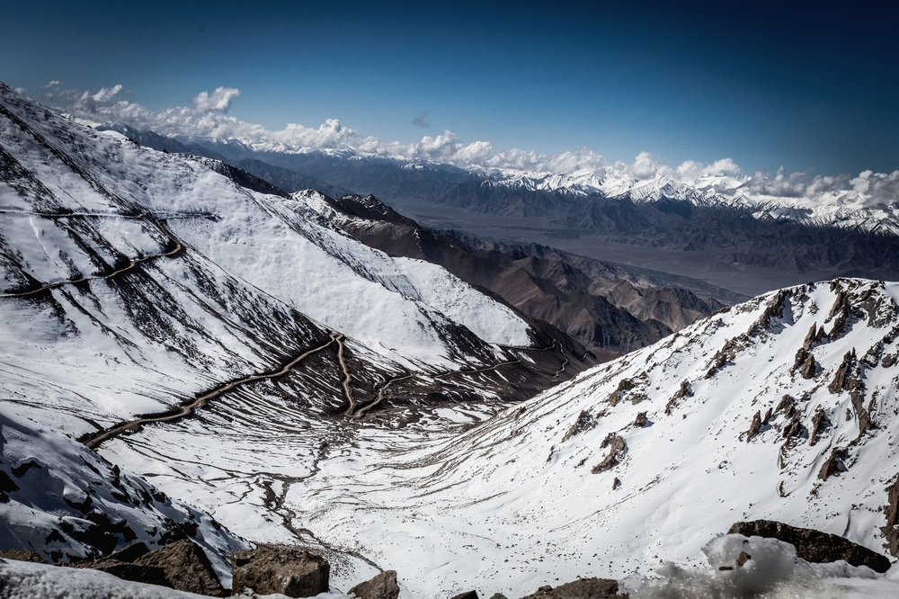 Close to Khardung la, 17,000ft above sea level. The high mountain pass was an important stage of the Silk Road, linking India with Central Asia